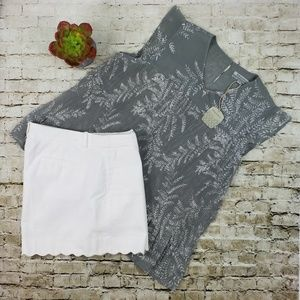 World Market Grey White Ruffle Blouse S/M